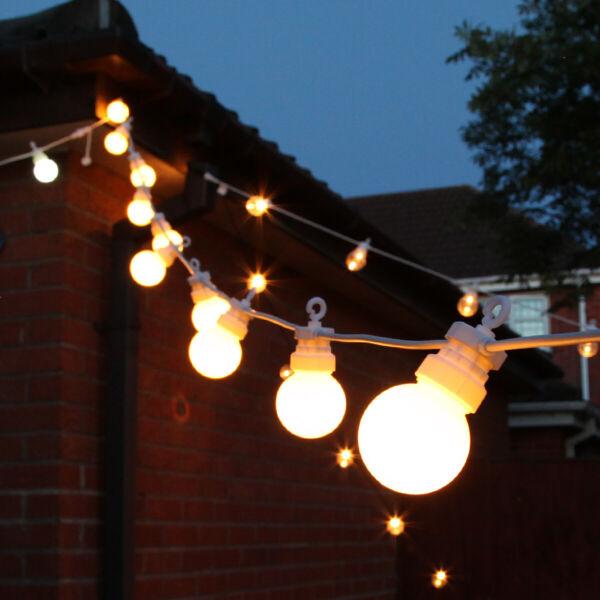 8-40m Plug In Outdoor Collegabile Led Festone Stringa Luci   Globe Lampadina Festa Bianco Puro E Traslucido