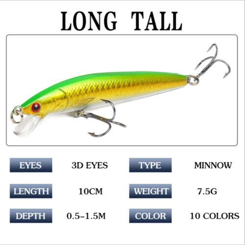 Minnow Fishing Lure 3D Eyes 10Cm 7G Wobbler Bass Pike Baits Spinner Baits Pip HC