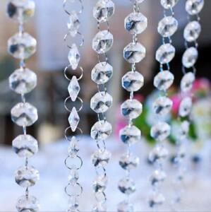 40-5-034-Clear-Crystal-Chandelier-Prism-Lamp-Octagon-Bead-Chain-Wedding-Pendant
