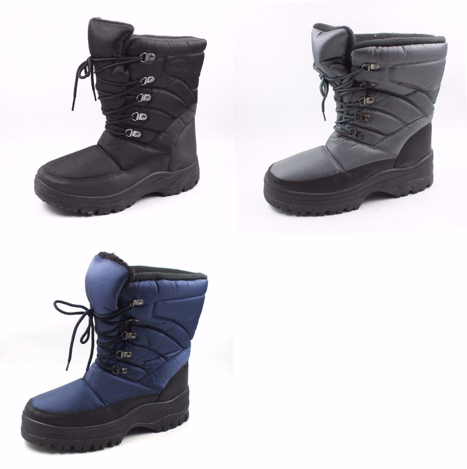 Herren Schnee Stiefel Skadoo Warm Winter Schwarz Marineblau Grau Größe 7-13-