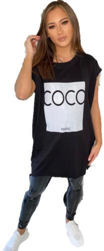 Top New Women/'s à manches courtes Coco Paris OVERSIZE Summer T-Shirt