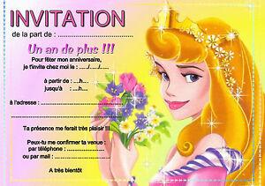 5 12 Ou 14 Cartes Invitation Anniversaire Princesse Aurore Ref 415