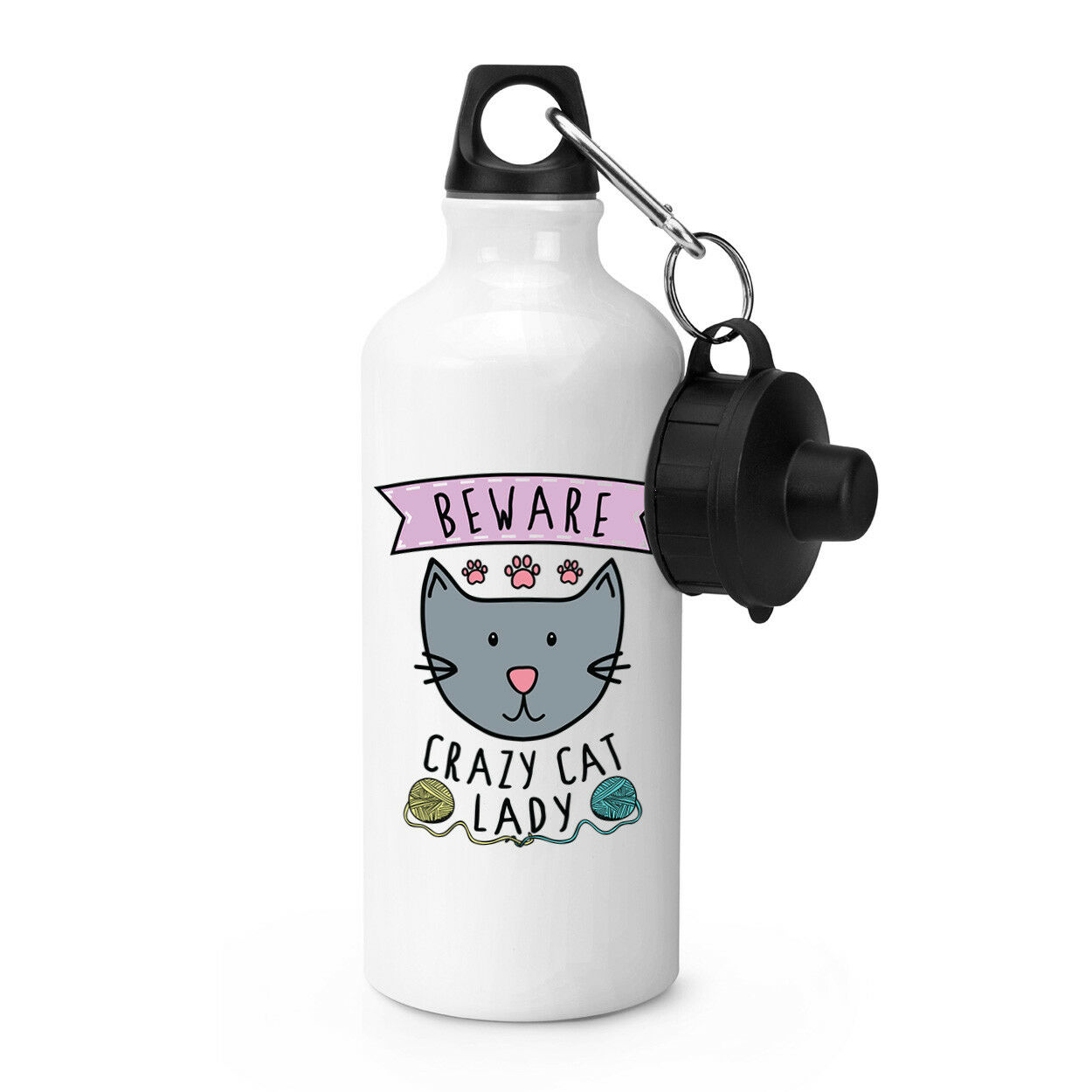 Méfiez-vous Crazy Cat Lady Sports Boisson Bouteille Camping Chaton fiole-Drôle Animal Chaton Camping 26b6cd