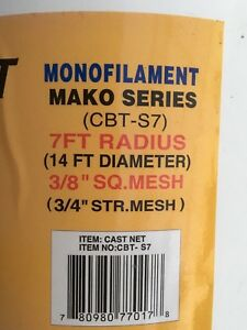 """BAIT CAST NET  3/8"""" SQUARE MESH"""