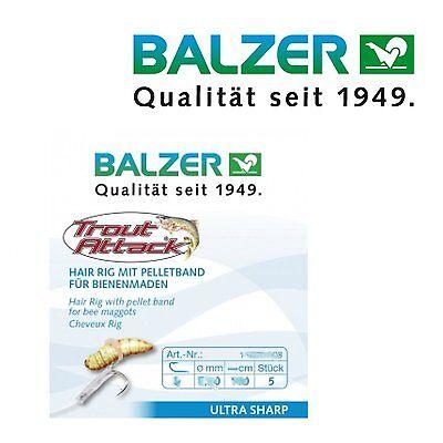 8 16071008 Angelhaken Balzer Trout Attack Hair Rig für Bienenmaden 60cm Gr