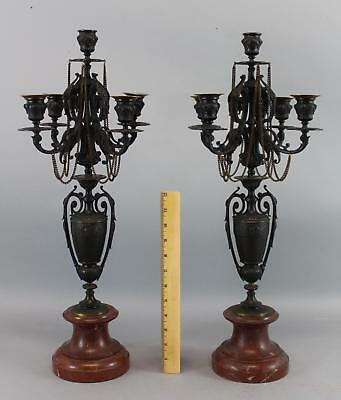 Pair Antique Victorian Classical Bronze Red Rouge Marble Candelabra Candlesticks