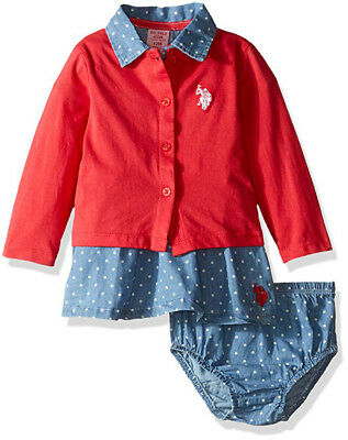 US Polo Assn Toddler Girls/' Coral Cardigan 2pc Dress Set  Size 2T 3T 4T