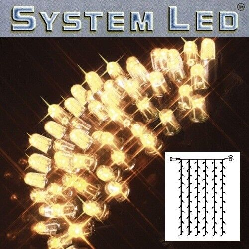 System LED Lichtervorhang 102er 1x2m warmweiss   schwarz 465-56    Verrückter Preis
