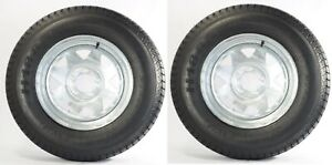 2-Pk-Trailer-Tire-On-Rim-ST205-75D14-2057514-F78-14-5-Lug-Spoke-Wheel-Galvanized