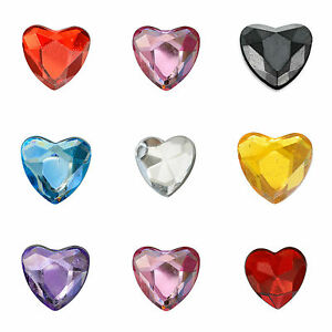 Self-Adhesive-Stick-On-Diamante-10mm-Heart-Gems-For-Wedding-Invitation-Craft