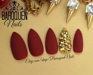 Image Is Loading Burgundy Press On Nails Gold Accent Nail Art