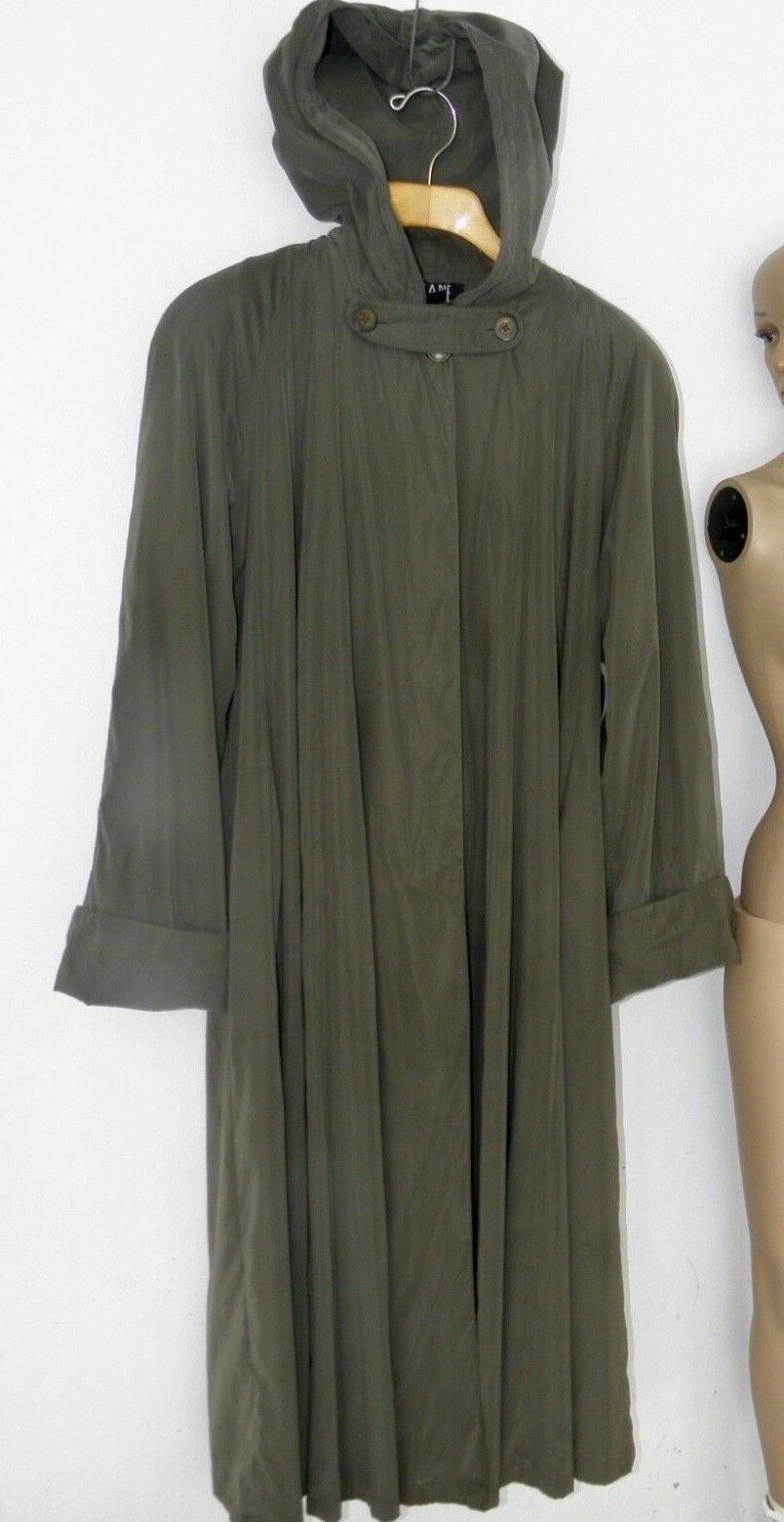 Searie Army Green Oversized Long Rain Coat sz 8 Made in USA  Unisex Trench Coat