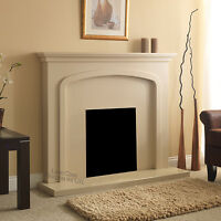 Electric Cream Stone Effect Surround Flat Wall Fire Fireplace Set Suite 48