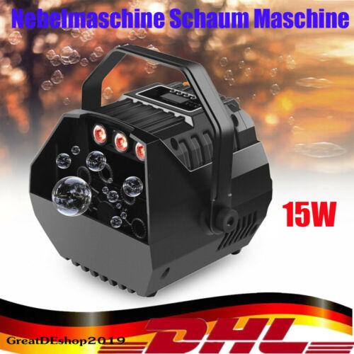 15W Seifenblasenmaschine LED RGB Bubble Machine Bühnenlicht DJ Party Effekt Neu