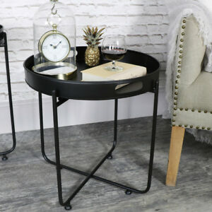 Black-butlers-serving-tray-side-table-retro-chic-living-room-kitchen-furniture