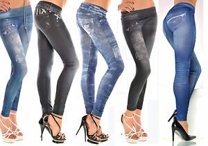 legging femme fantaisie aspect jeans top sexy fashion bleu ou noir ebay. Black Bedroom Furniture Sets. Home Design Ideas