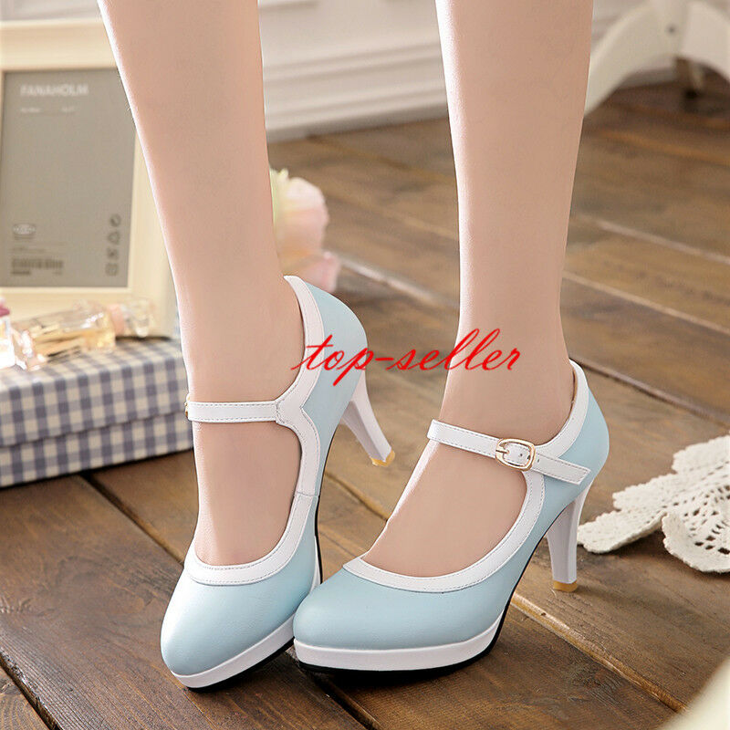 Retro Lolita Women's Sweet Platform High Heel Round Toe Ankle Strap Pumps shoes