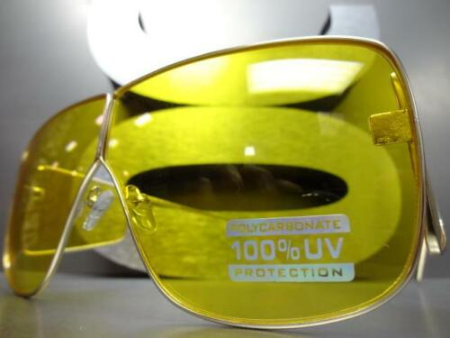 CLASSIC VINTAGE Old School RETRO Style SUN GLASSES Gold Metal Frame Yellow Lens
