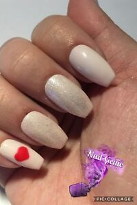 Details about *Hand Painted Press On False Nails Pale Pink Glitter Gel  Polish Short Coffin*