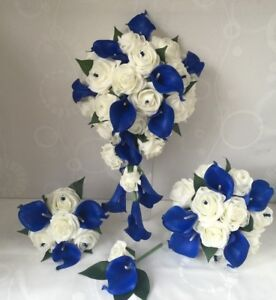 Wedding Flowers Ivory Rose Calla Lily Bouquet Bride Royal Blue