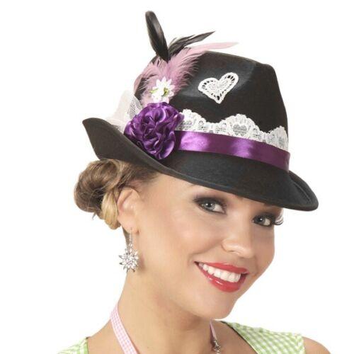 eleganter Trachtenhut Damen Tiroler Hut schwarz Oktoberfest Dirndl Hut Bayernhut