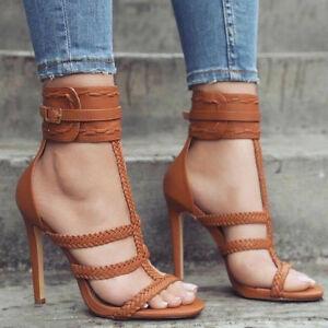 Sexy Women Sandals Straps High Heels Sandals Black Brown Shoes Women ... cdcab7b45
