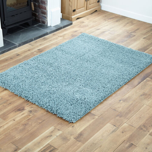 THICK BLUE SHAGGY RUGS SMALL EXTRA LARGE MODERN DUCK EGG BLUE 5CM HIGH PILE RUGS
