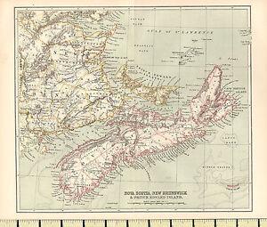 c1880 MAP ~ NOVA SCOTIA NEW BRUNSWICK & PRINCE EDWARD ISLAND ~