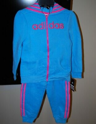 Adidas girls pink color hooded 2 piece active wear set size 3T $54 price tag NWT