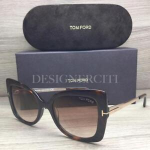 3d78a38612073 Tom Ford Gianna-02 TF609 609 Sunglasses Havana Gold 52G Authentic ...