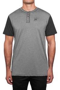 1665e517e Huf SCRIPT HENLEY TEE Grey Heather Black Screenprint Logo S/S Men's ...