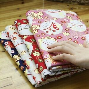 Japanese Cotton Fabric Cloth Kimono Fortune Cat Dog Retro 100 150cm DIY