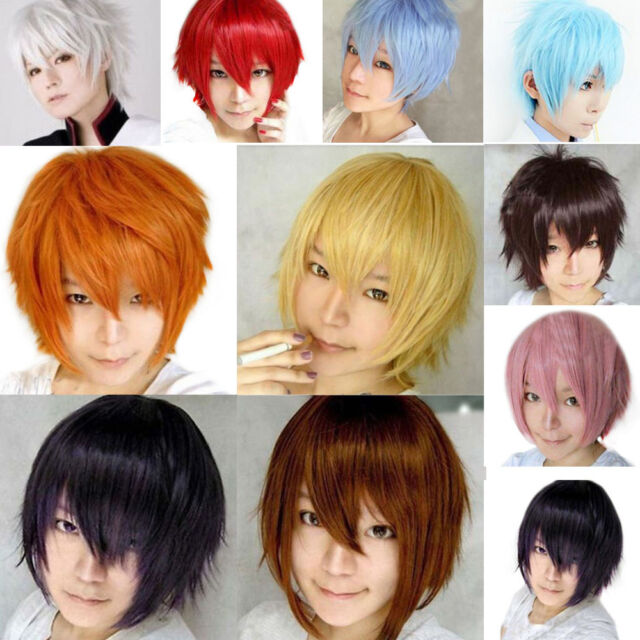 10 Colors Women Fancy Short Wig Cosplay Party Costume Straight Wigs Full Wig+Cap