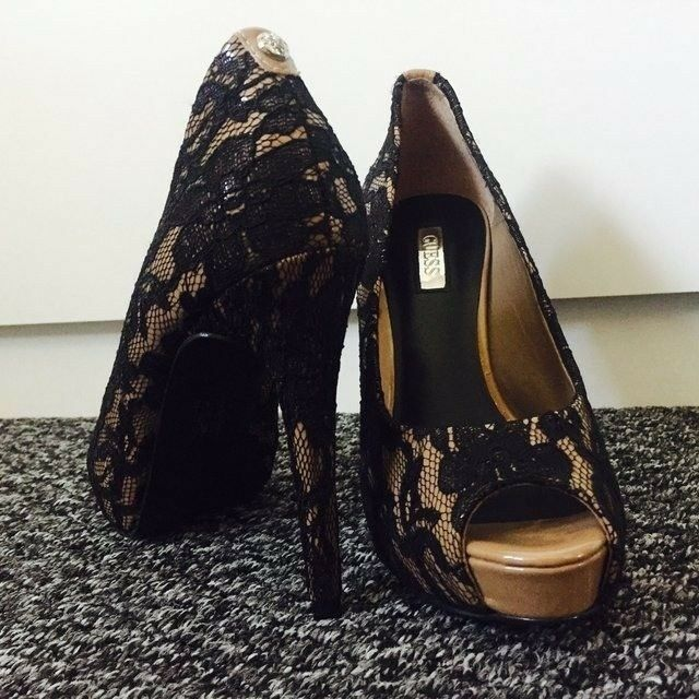 Descuento barato GUESS Woman Stilettos High Heels Shoes Size 4/36 Leather,Black Lace.MOST POPULAR