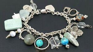 Vintage-Sterling-Silver-925-Charm-Bracelet-7-034-17-charms