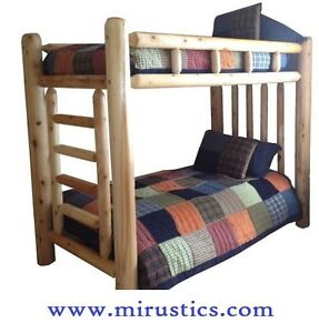 1-Selling-Queen-Queen-Rustic-Cedar-Log-Bunk-Bed-Bunkbed-EASY-ASSEMBLY