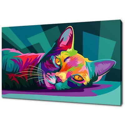 CAT POP ART CANVAS PRINT PICTURE WALL ART FREE UK DELIVERY VARIETY OF SIZES