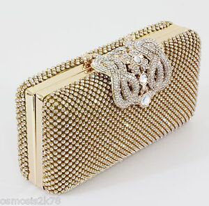 Image Is Loading Unique Clasp Diamante Diamond Crystal Gold Evening Bag