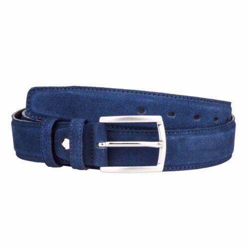 Capo Pelle Mens Leather Belts Navy Suede Dress belt Italian designer Sz 42