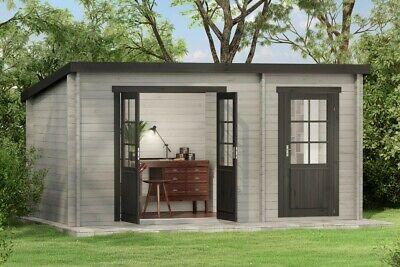 Super Pultdach Gartenhaus Maria mit Anbau Holz 450x250 cm Blockhaus RP55