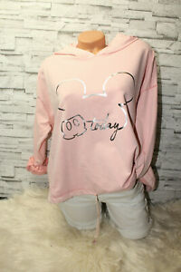 Italy-Hoodie-Pullover-Vintage-Gr-36-38-40-42-Sweat-Shirt-rosa-Mickey-Mouse