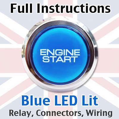 Chrome/Blue Engine Start Starter Push Button Power Switch - Full kit with loom!