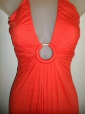 Sky Clothing Brand XS Maxi Dress Bright Coral Orange Gold Ring Keyhole Open Back