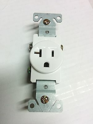 Single Receptacle 20 Amp 20A 125V AC Outlet 2 Pole 3 Wire White 1 pc
