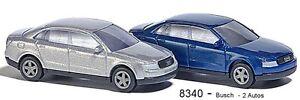 BUSCH-8340-Piste-N-Deux-Audi-A4-Limousine-argent-Bleu-Nouveau-OVP