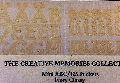 IVORY Creative Memories LARGE CLASSY ABC//123 Stickers