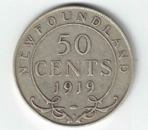NEWFOUNDLAND-1919C-50-CENTS-KING-GEORGE-V-CANADIAN-STERLING-SILVER-COIN