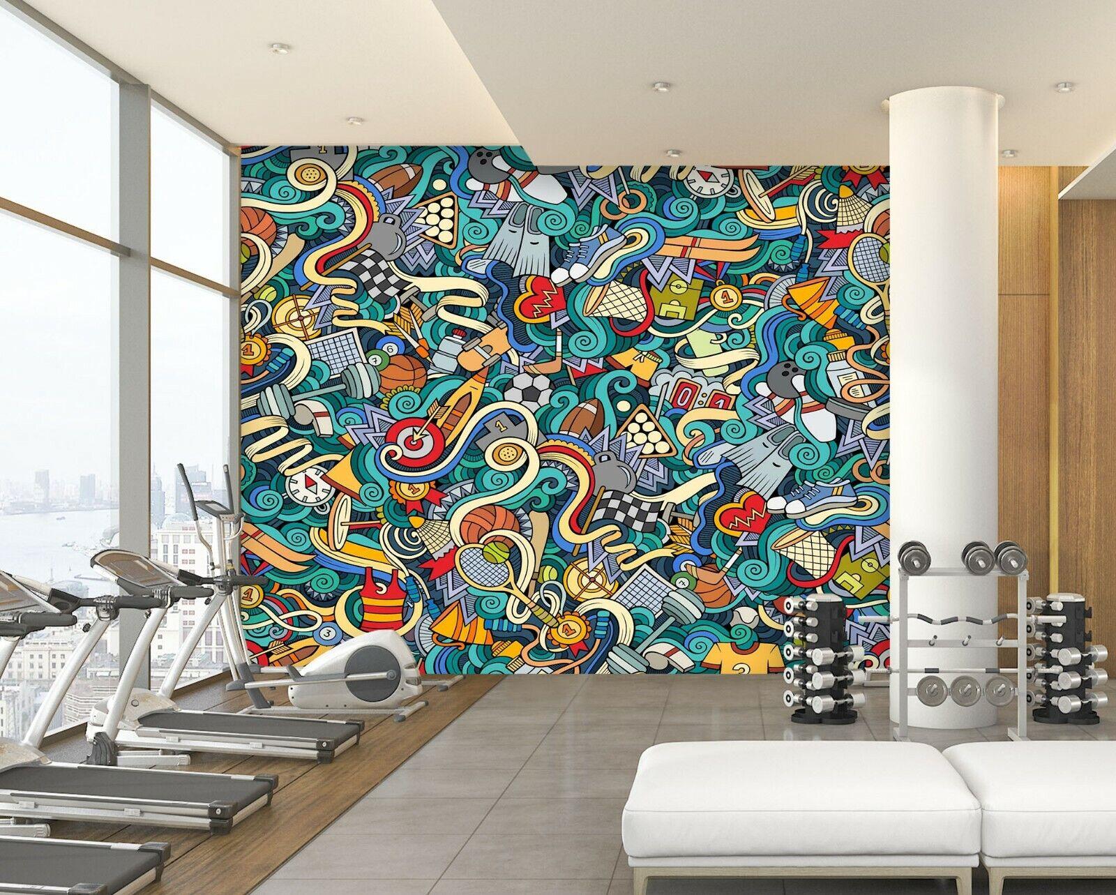 3D Graffitti N80 Business Wallpaper Wall Mural Self-adhesive Commerce Sunday