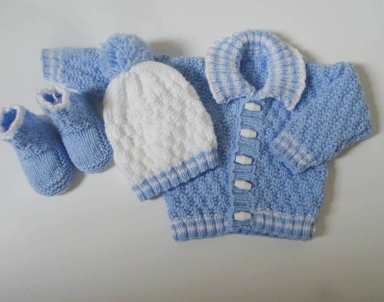 Easy dk knitting pattern instructions to knit baby boys cardigan set
