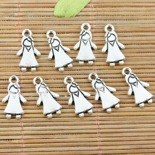 24pcs Tibetan Silver Color 2 faces petite fille design Charms EF2192